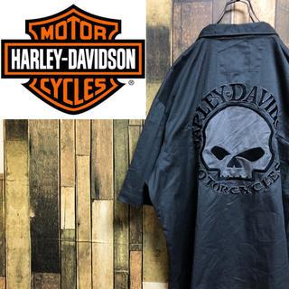 Harley Davidson - 【激レア】ハーレーダビッドソン☆スカル刺繍バックビッグロゴビッグワークシャツ