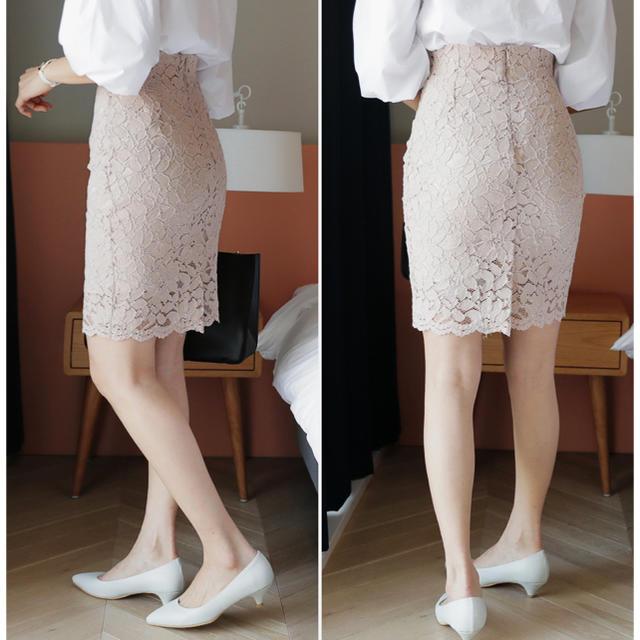 dholic(ディーホリック)のdholic  ピンクベージュレーススカート レディースのスカート(ひざ丈スカート)の商品写真
