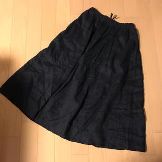 ムジルシリョウヒン(MUJI (無印良品))のロングスカート 無印 muji 麻100 リネン  紺 ネイビー(ロングスカート)
