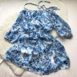 ディーホリック(dholic)の韓国ファッション 水色 オフショル チュニック ミニワンピース シフォン 透け感(ミニワンピース)