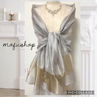 即購入OK‼️ 【新品】シルク ストール 結婚式 羽織 シルバー