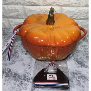 ストウブ(STAUB)のホワイトsak様専用   パンプキンココット 鍋 24cm 旧オレンジ 中古美品(鍋/フライパン)