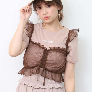 one after another NICE CLAUP - ♡Tシャツ付きドットチュールビスチェセット♡