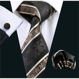 高級 ネクタイ ポケットチーフ カフス 3点セット A-4