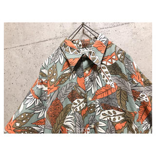 [used]dusty color botanical design shirt(シャツ)