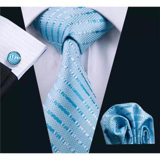 高級 ネクタイ ポケットチーフ カフス 3点セット A-10