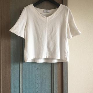 イエナスローブ(IENA SLOBE)のイエナスローブ Vネックプルーオーバー   白Tシャツ カットソー(Tシャツ(半袖/袖なし))
