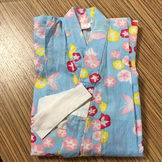 女児 浴衣 100サイズ ブルー 水色 朝顔柄