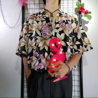 極彩 アロハシャツ 白黒パープル 花柄 XL 総柄シャツ ビッグシルエット