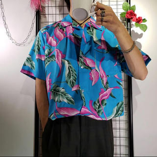極彩 アロハシャツ アメリカ輸入 青ピンク緑 総柄シャツ L相当 Kemio