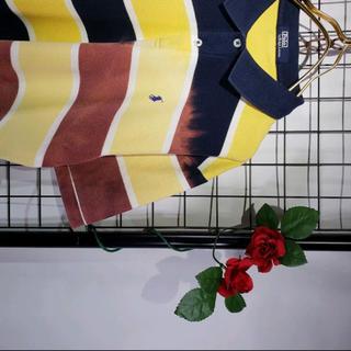 Ralph Lauren - RALPH LAUREN 太ボーダー マルチカラー ポロシャツ ブリーチ加工
