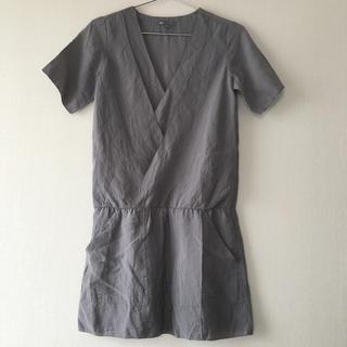 ギャップ(GAP)のGAP グレー カシュクール チュニック ワンピース カジュアル 半袖 婦人服(チュニック)
