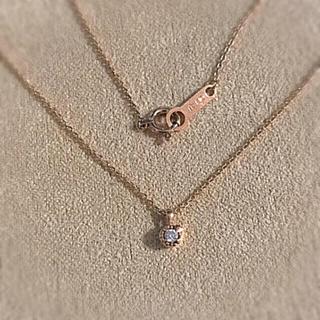 4℃ - 4℃ k10 ピンクゴールド ネックレス ダイヤモンド 1粒 ミル打 ハート