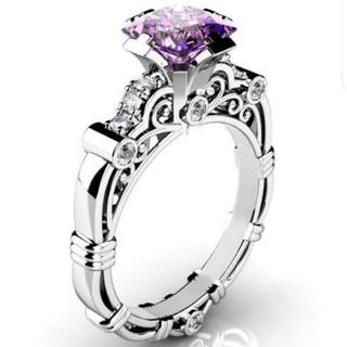 ★希少★💜パープル系ダイヤモンドリング 0.5ctプラチナ仕上げ刻印有(リング(指輪))