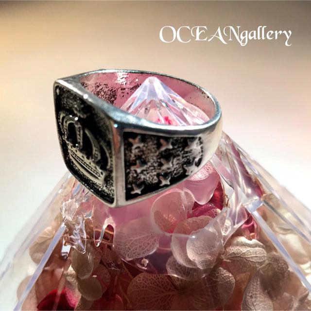 送料無料 14号 シルバークラウンリング 指輪 キング女王王冠 シグネットリング メンズのアクセサリー(リング(指輪))の商品写真