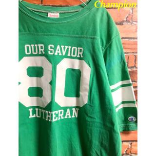 チャンピオン(Champion)のチャンピオン フットボール tシャツ グリーン 緑 おしゃれ 70s 80s(Tシャツ/カットソー(半袖/袖なし))