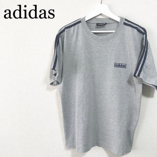 アディダス(adidas)の90s adidas Tシャツ グレー 紺 メンズ ロゴマーク 3ライン 古着(Tシャツ/カットソー(半袖/袖なし))