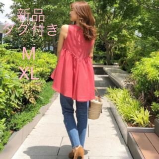 ジーユー(GU)の新品タグ付き GU バッグテールノースリーブ ブラウス M XL サーモンピンク(シャツ/ブラウス(半袖/袖なし))