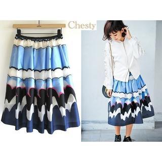 チェスティ(Chesty)の美品 ブログ/インスタ掲載 チェスティ 17SS スカート 0 中村江里子さん着(ひざ丈スカート)