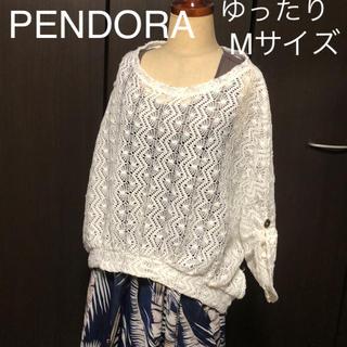 PENDORA 透かし編み ドルマン ロールアップ ゆったりMサイズ(カットソー(半袖/袖なし))