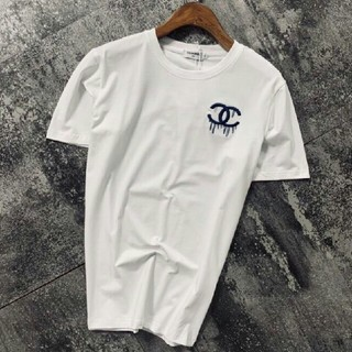 CHANEL - メンズ ファッション  Tシャツ 刺繍ロゴ トップス 丸首  送料無料