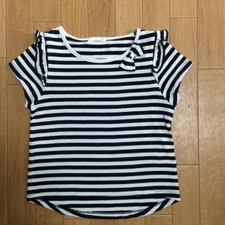 GU - GU ジーユー 110 ボーダーリボン Tシャツ