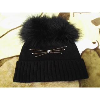 kate spade new york - ケイトスペードニューヨーク ポンポン付きネコニット帽子