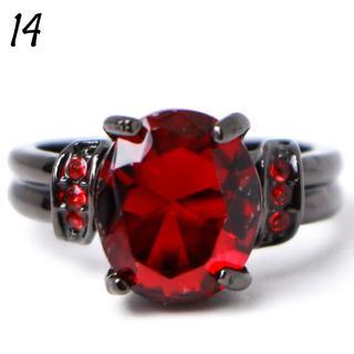 P12 リング 14号 人工石 ルビー オーバル クール ブラックゴールド(リング(指輪))