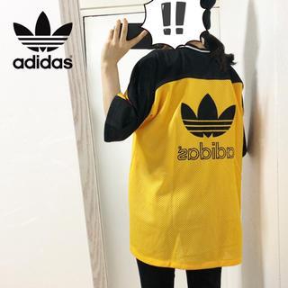 adidas - 【adidas】ビッグロゴ メッシュ素材 フットボールTシャツ
