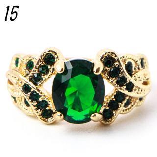 G7 リング 15号 人工石 グリーントパーズ クロス ゴージャス(リング(指輪))