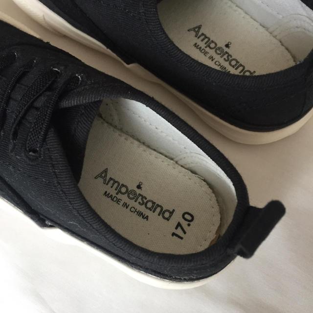 ampersand(アンパサンド)のAmpersand 黒シューズ キッズ/ベビー/マタニティのキッズ靴/シューズ (15cm~)(スニーカー)の商品写真