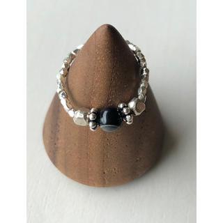 カレンシルバー と天然石の天眼石のピンキーリング(リング(指輪))
