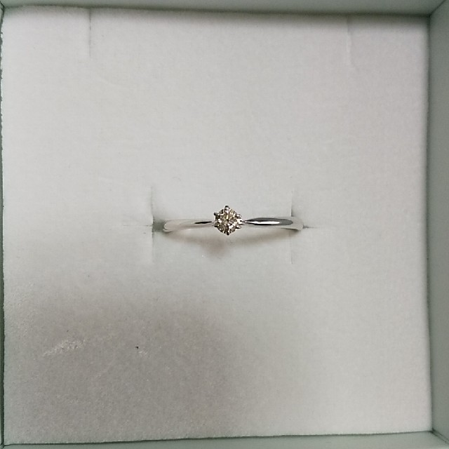 K10ホワイトゴールド 天然ダイヤモンド 0.08ct 一粒デザインリング レディースのアクセサリー(リング(指輪))の商品写真
