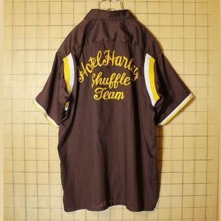 70s USA Hilton ボウリングシャツ チェーンステッチ半袖 ss111(シャツ)