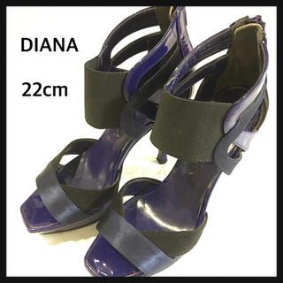ダイアナ(DIANA)の美品 ダイアナ サンダル 22cm ネイビー ブラック ヒール パーティー 人気(サンダル)
