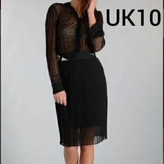 アディダス(adidas)の未使用 アディダス EQT 裏地付き 透け感 プリーツスカート UK10 (ひざ丈スカート)