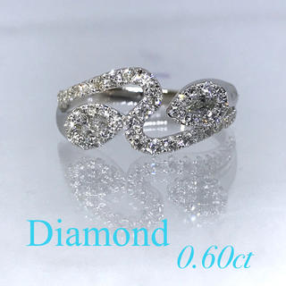 新品【ウェーブデザイン】高品質ダイヤ 0.6カラット 18金WG製 リング(リング(指輪))