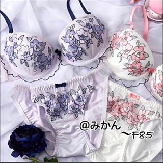 咲き乱れる✨♥️グラデーションフラワー刺繍ブラショーツセット(ブラ&ショーツセット)