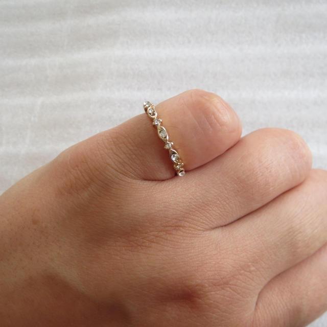№019  ゴールド×ビジュー リング レディースのアクセサリー(リング(指輪))の商品写真