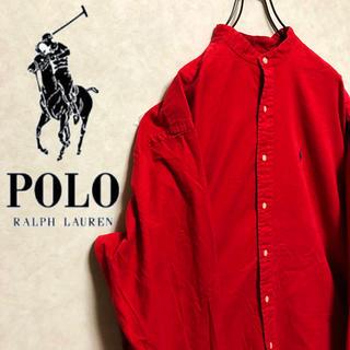 Ralph Lauren - 【激レア】ラルフローレン 刺繍ロゴ入りビッグバンドカラー シャツ