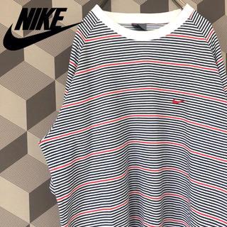 NIKE - 【ナイキ】ロゴ刺繍ワンポイント ボーダーTシャツ ビッグシルエット 古着