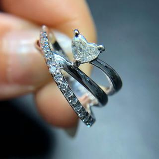 美品 プラチナ ピンキー ハートダイヤ リング(リング(指輪))