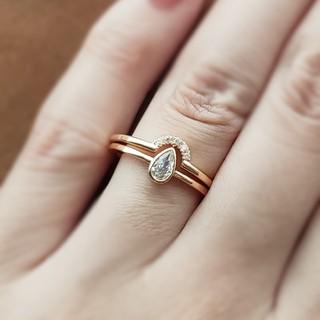 ete - 2本セット*モアッサナイトダイヤモンド*ゴールド*リング*指輪