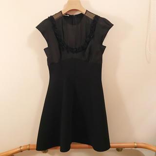 miumiu - miumiu ミュウミュウ 黒 ドレス ワンピース フリル ビーズ