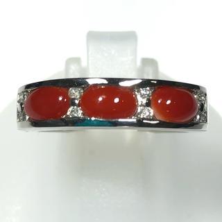 ミツコシ(三越)の三越 MITSUKOSHI サンゴ 珊瑚 ダイヤモンド リング 指輪 pt900(リング(指輪))