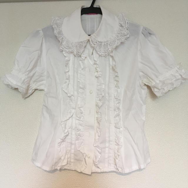 BABY,THE STARS SHINE BRIGHT(ベイビーザスターズシャインブライト)の値下 BABY ハートレースブラウス 半袖 白 レディースのトップス(シャツ/ブラウス(半袖/袖なし))の商品写真