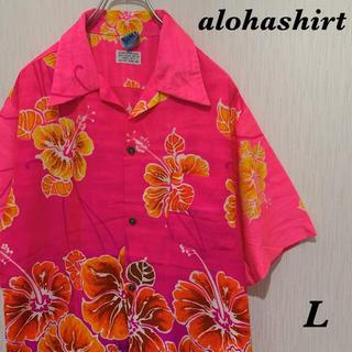 アロハシャツ Made in Hawaii ピンク 花柄 オーバーサイズ(シャツ)