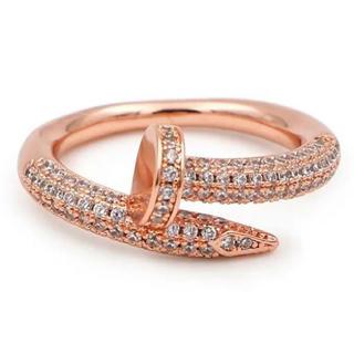 釘リング pinkgold plating cz diamond ring