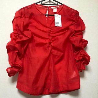 H&M - H&M 赤 シースルー ブラウス 42 タグ付き 新品 XL シフォン フリル