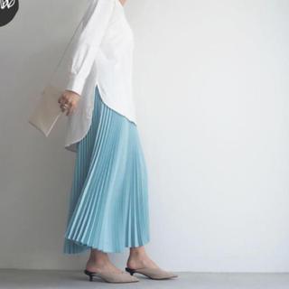 ドゥーズィエムクラス(DEUXIEME CLASSE)のcen.  myclozett プリーツスカート 38 ミント(ロングスカート)